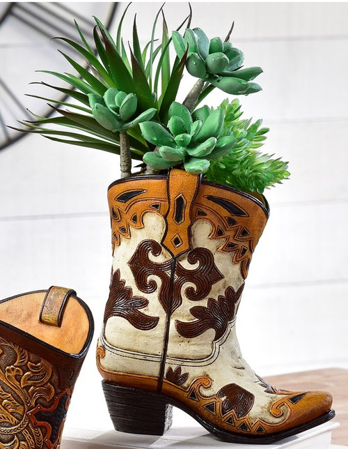 Cowboy Boot Vase With White and Brown 089899