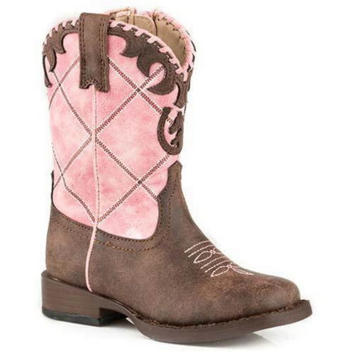 Lacy Pink and Brown Cowboy Boot for Toddlers 09-017-1902-2000 PI