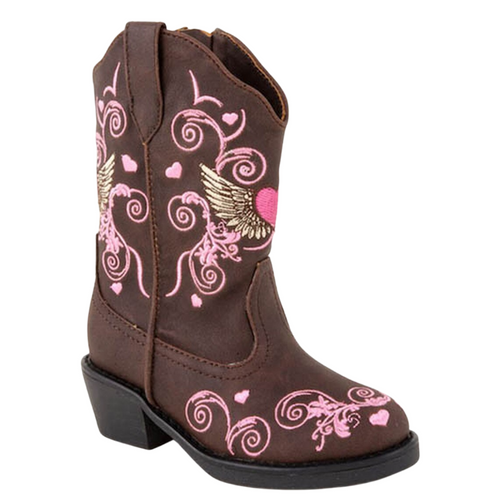 Flying Hearts Pink and Brown Cowboy Boot for Toddlers 09-017-1556-0456 BR