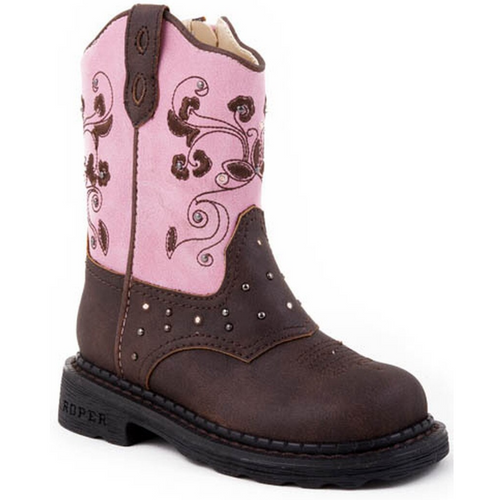 Saddle Light Up Pink and Brown Cowboy Boot for Toddlers 09-017-1202-0022 BR
