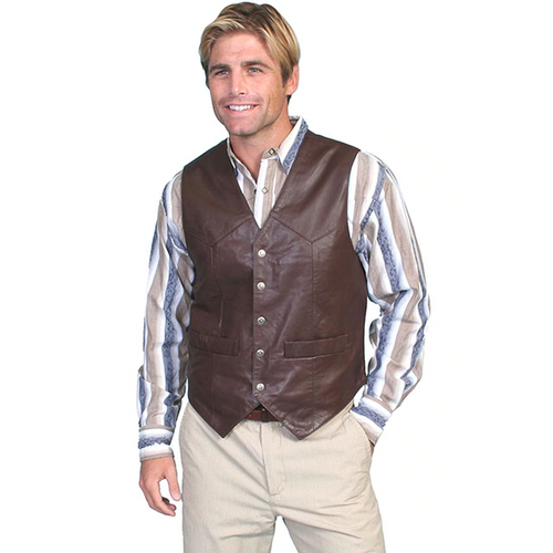 Men's Soft Lambskin Brown Snap Western Vest By Scully 507-143