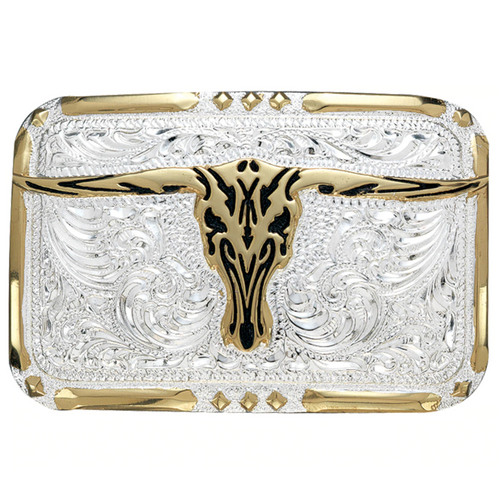 Crumrine Silver, Gold, and Black Longhorn Buckle by M&F C10810