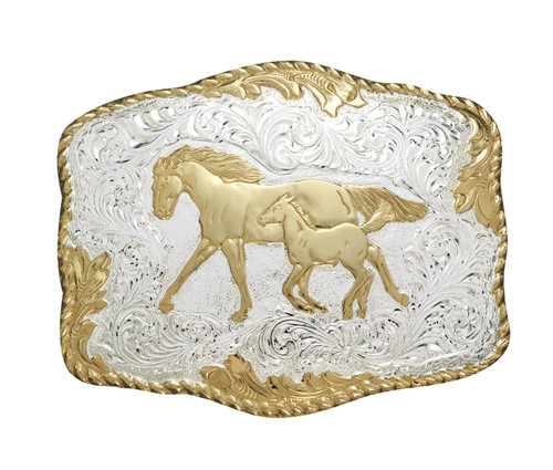 Crumrine Gold and Silver Mare & Foal Buckle C00242
