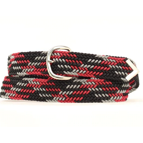 Machine Woven Braided Belt - Black  Red and Grey by M&F Western 2000655
