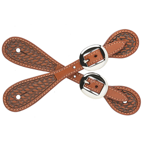 Small Natural Basketweave Spur Straps by M&F DSS113