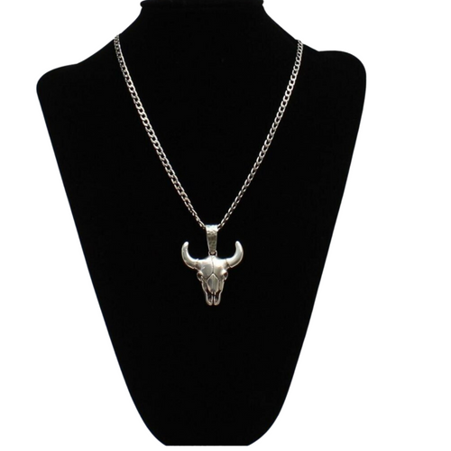 Twister Silver Longhorn Bull Skull Necklace 32148