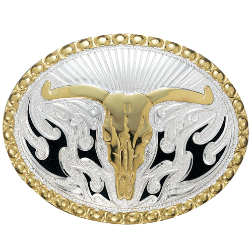 Crumrine Gold and Silver Oval Longhorn Buckle by M&F C11168