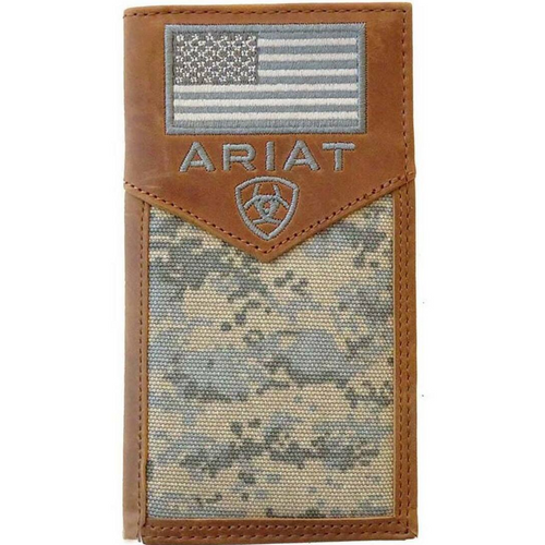 Leather Rodeo US Flag Patch Digital Camo Wallet by Ariat A3536428