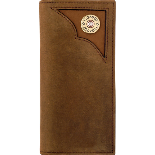 12 Gauge Shell Brown Distressed Rodeo Wallet DBW522