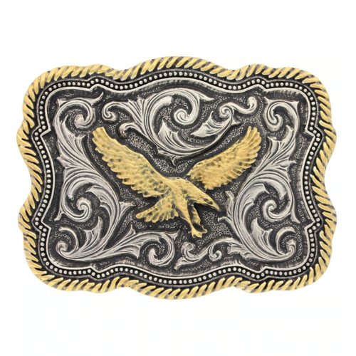 Scalloped Rope Edge Golden Eagle Buckle by Montana Silversmiths A613
