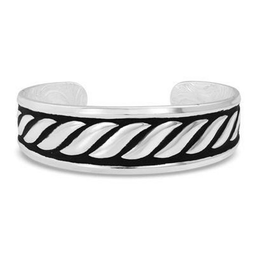 Twisted Rope Silver & Black Cuff Bracelet by Montana Silversmiths BC4077