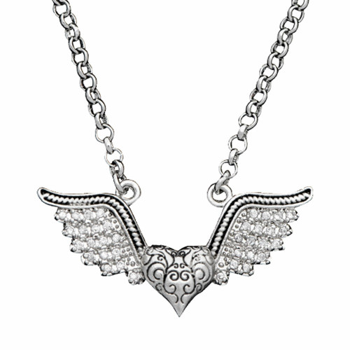 Vintage Charm You Lift Up My Heart Necklace By Montana Silversmiths NC1324CZ