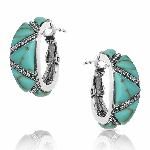 Turquoise Wedge Hoop Earrings By Montana Silversmiths ER4833