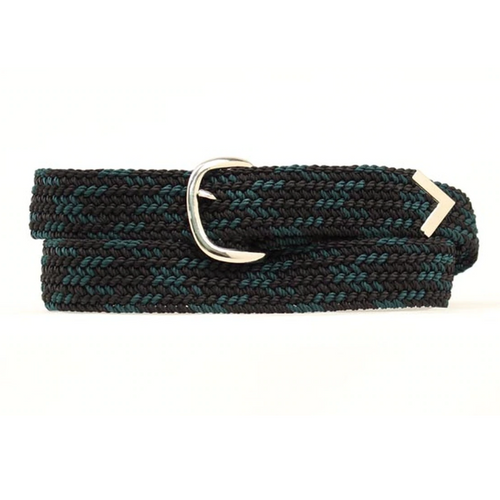 Machine Woven Braided Belt - Black and Dk Green 2000658