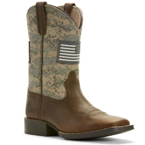 Kid's Patriot Distressed Camo Western Boot By Ariat 10027279