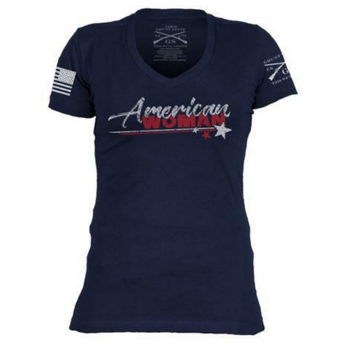 American Woman V-Neck T-Shirt by Grunt Style GS2929