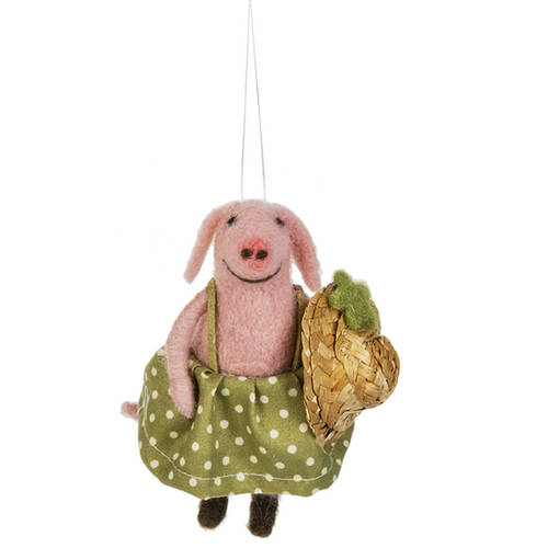 Pig With Straw Hat  Ornament By Ganz MX176580-1