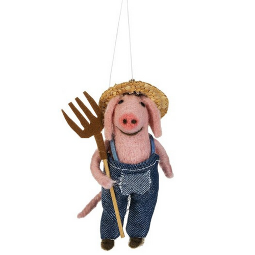 Farmer Pig With Pitch Fork  Ornament By Ganz MX176580-2