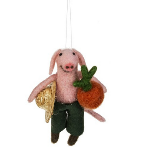 Farmer Pig With Straw Hat Ornament By Ganz MX176580-3
