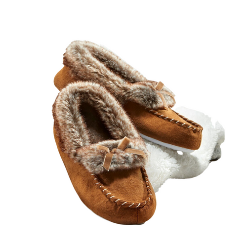 Faux Fur Brown Lined Slippers by Giftcraft 406196BR