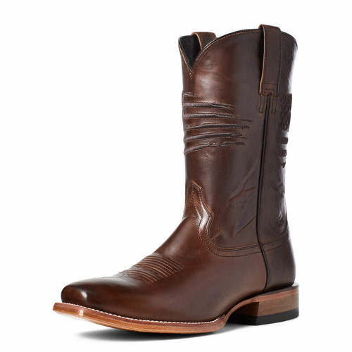 Men's Circuit Patriot Square Toe Bar Top Brown Western Boot By Ariat 10036001