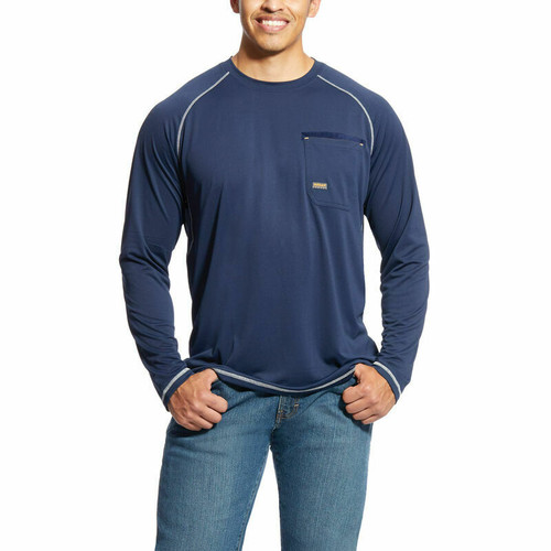 Men's Blue Rebar Sunstopper Shirt By Ariat 10019137