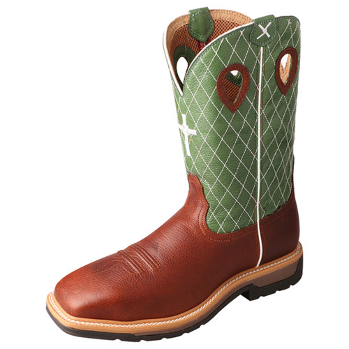 "Twisted X 12"" Western Work Boot - Cognac Glazed Pebble & Lime MLCS002"