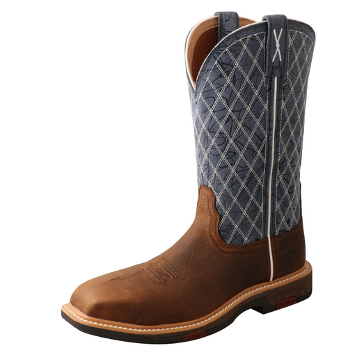 "Twisted X 11"" Western Work Boot - Brown & Blue WXBN001"