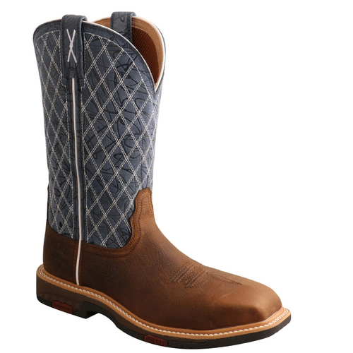 """Twisted X 11"""" Western Work Boot - Brown & Blue WXBN001"""
