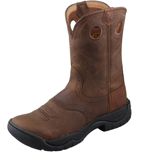 "Twisted X 9"" All Around Work Boot - Distressed Saddle & Distressed  