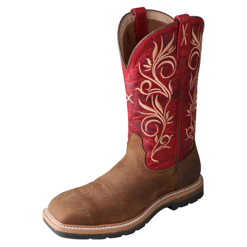 "Twisted X 11"" Western Work Boot - Distressed Latigo & Red 