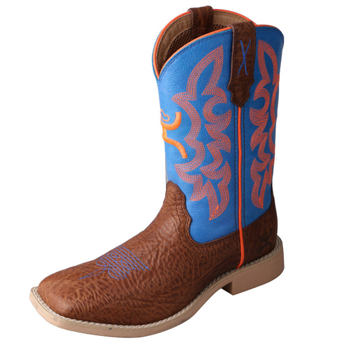 Twisted X Youth Hooey Boot - Cognac Bullhide & Neon Blue | YHY0001