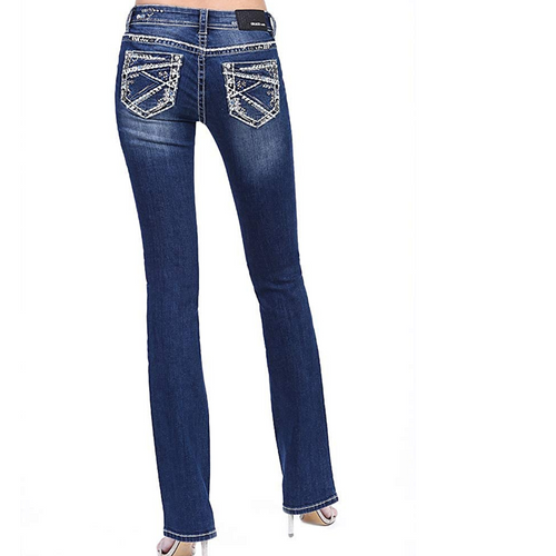 Women's Jagged Lines Bootcut Jean By Grace In LA JB51523