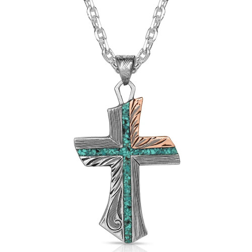 Inner Light Turquoise Cross Necklace By Montana Silversmiths NC4779