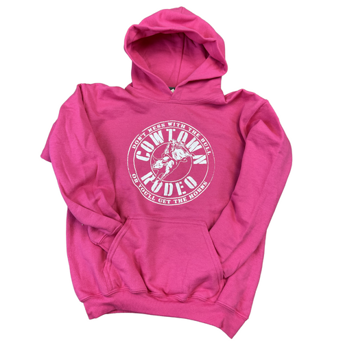 2021 Cowtown Rodeo Don't Mess With The Bull Hoodie for Kids 16185Y - PINK