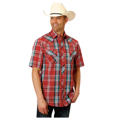 Men's Red Short Sleeve Snap Woven Plaid Shirt By Roper 01-002-0101-3046 RE