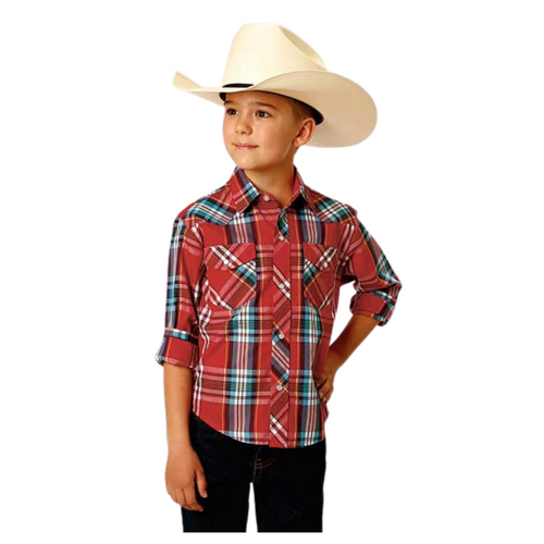 Boy's Red Short Sleeve Snap Woven Plaid Shirt By Roper 01-030-0101-3046 RE