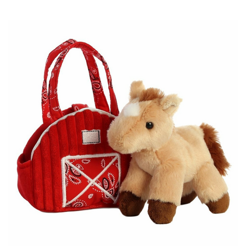 "Fancy Pals 7"" Red Barn Carrier With Pony 32846"