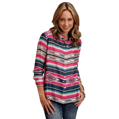 Serape Print Herringbone Long Sleeve Shirt 11-050-0590-0300