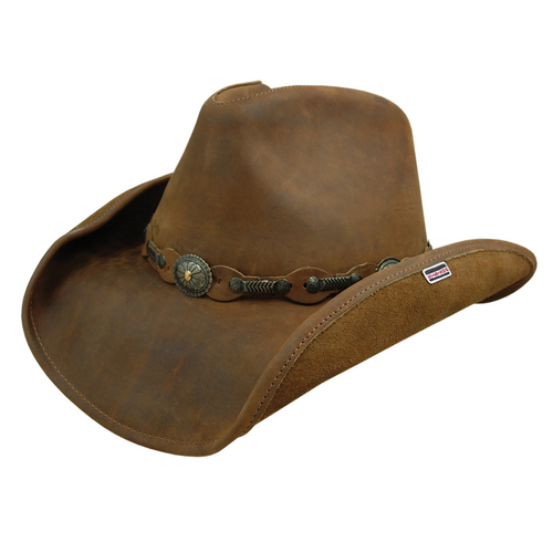 Roxbury Leather Hat by Stetson TRROXB8434-Rustic Brown