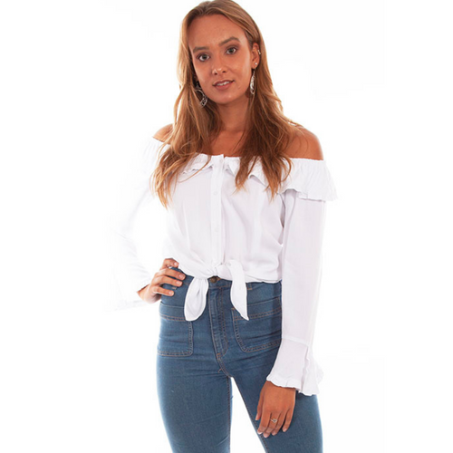 White Ruffle Off/On Shoulder Top HC579-W