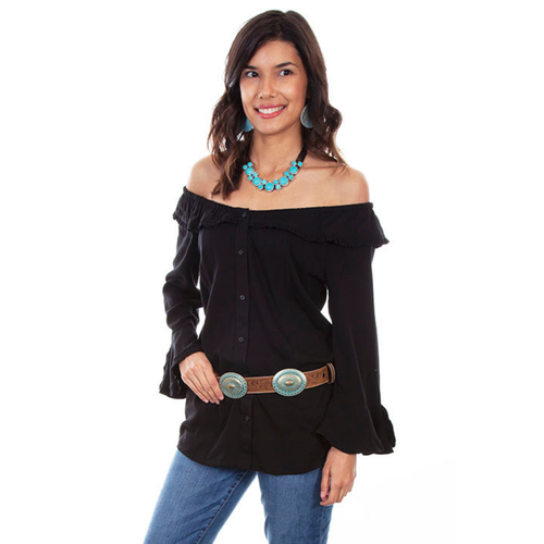 Black Ruffle Off/On Shoulder Top HC579-B