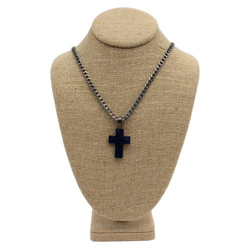 Silver Strike Gunmetal Blue Cross Necklace by M&F D47002