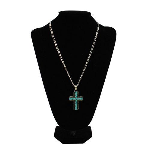 Silver Strike Silver Chain Turquoise Cross Necklace by M&F D47001