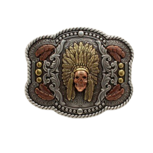 Nocona Skull Chief Rectangle Belt Buckle 37600