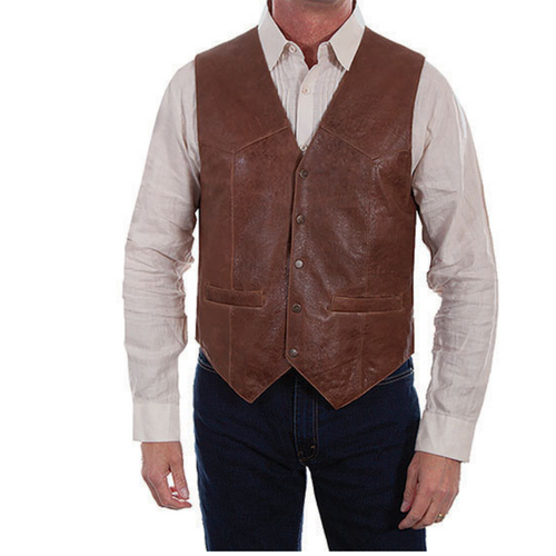 Brown Vintage Lamb Leather Vest by Scully 1035-60