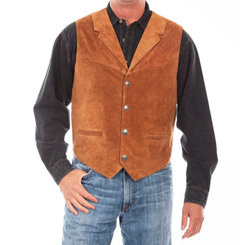 Men's Lapel Vest in Rust by Scully 509-432