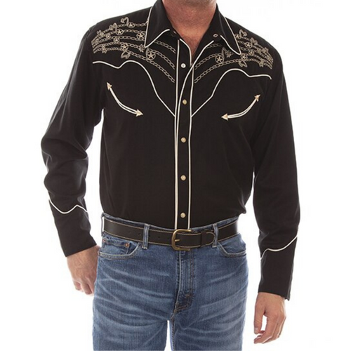 Stars and Notes Embroidered Long Sleeve Black Shirt By Scully P-908