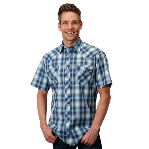 Men's Short Sleeve Green and Blue Plaid Shirt By Roper 03-002-0062-0331