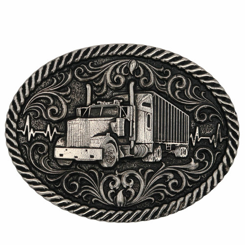 Big Rig Semi Attitude Belt Buckle By Montana Silversmiths A863